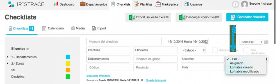 Advanced checklist filters | Iristrace